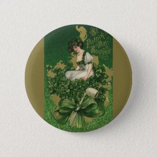 Vintage St. Patrick's Day Souvenir, Irish Lass Pinback Button