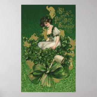 Vintage St. Patrick's Day Souvenir, Irish Lass Poster