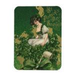 Vintage St. Patrick's Day Souvenir, Irish Lass Rectangular Photo Magnet