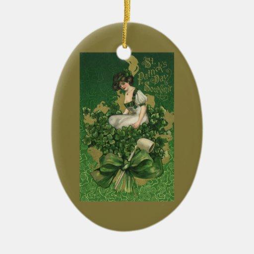 Vintage St. Patrick's Day Souvenir Lass Christmas Ornament