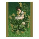 Vintage St. Patrick's Day Souvenir Lass Postcards