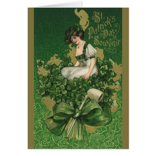 Vintage St. Patrick's Day Souvenir Woman Greeting Card