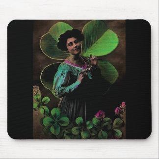 Vintage St Patrick's day Victorian Shamrock Girl Mouse Pad