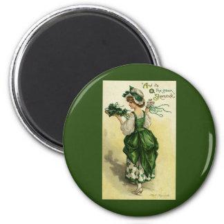 Vintage St. Patrick's Day, Woman Green Shamrocks Magnet