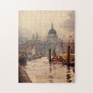 Vintage St. Paul's Cathedral Thames London England Jigsaw Puzzle