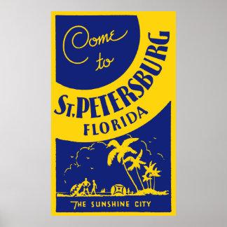 Vintage St Petersburg la Florida Póster