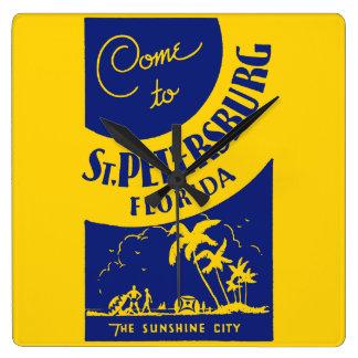 Vintage St Petersburg la Florida Reloj Cuadrado