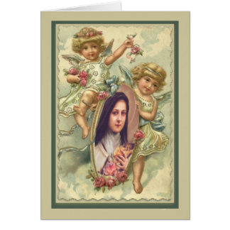 Vintage St. Therese Card with Angels