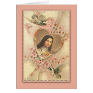 Vintage St. Therese Card with Pink Flowers