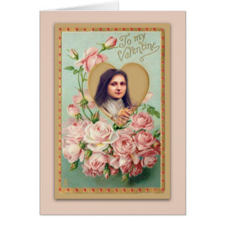 Vintage St. Therese Card with Pink Roses