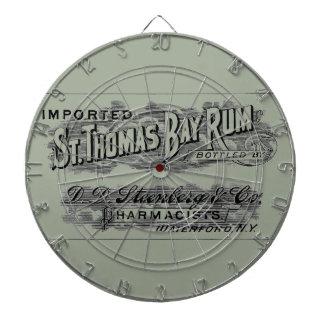 Vintage St. Thomas Bay Rum Advertising Logo Label Dartboard