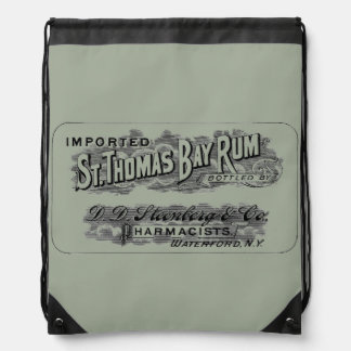 Vintage St. Thomas Bay Rum Advertising Logo Label Drawstring Bag
