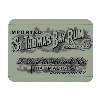 Vintage St. Thomas Bay Rum Advertising Logo Label Magnet