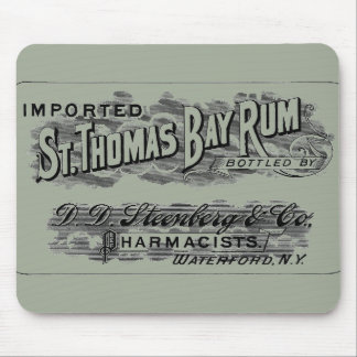Vintage St. Thomas Bay Rum Advertising Logo Label Mouse Pad
