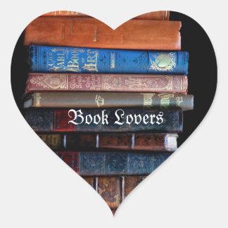VIntage Stack of Old Books Heart Sticker
