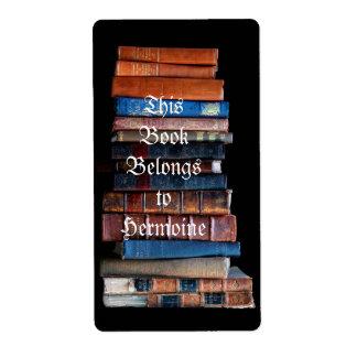 VIntage Stack of Old Books Label