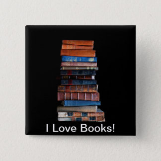 VIntage Stack of Old Books Pinback Button