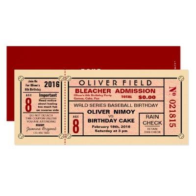 Vintage Sports Ticket Birthday Invite