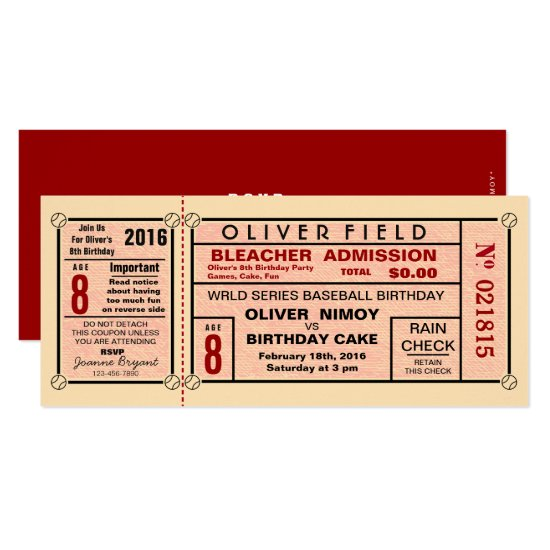 Vintage Stadium Ticket Baseball Birthday Invitation