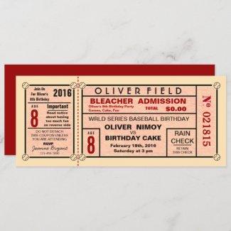 Vintage Stadium Ticket Baseball Birthday Invitation