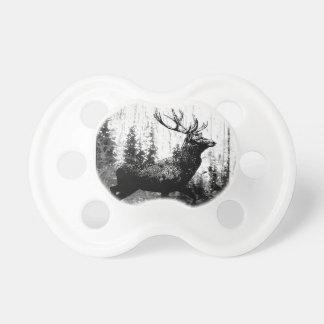 Vintage Stag Deer Black White Animal Pacifier
