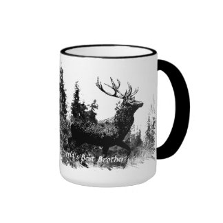 Vintage Stag Deer World's Best Brother Ringer Mug