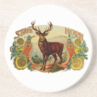 Vintage Stag Horn Drink Coaster