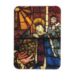 Vintage Stained Glass Nativity Scene; Renaissance Flexible Magnet