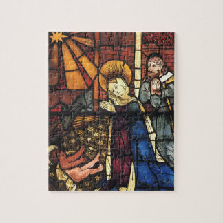 Vintage Stained Glass Nativity Scene; Renaissance Jigsaw Puzzles