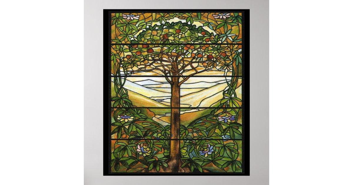 Vintage Stained Glass Pattern Apple Tree Art Print   Zazzle.com