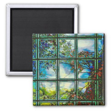 McTiffany Tiffany Aqua Vintage Stained Glass Window Scenic Landscape Magnet
