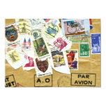 """Vintage Stamp Collage Farewell Party Invitation 5"""" X 7"""" Invitation Card"""