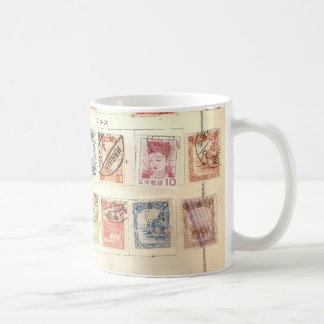 Vintage stamps coffee mug