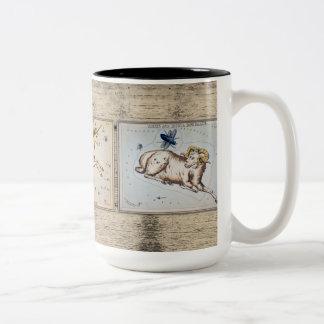Vintage Star Chart Cards on Distressed Wood Two-Tone Coffee Mug