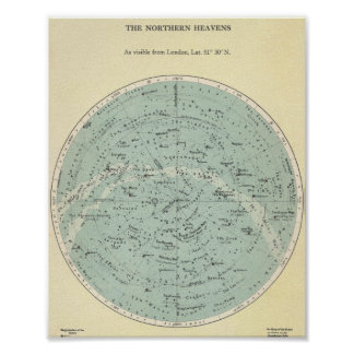 Vintage Star Chart - The Northern Heavens Poster