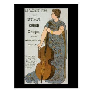 Vintage Star Cough Drops Advertisment Postcards
