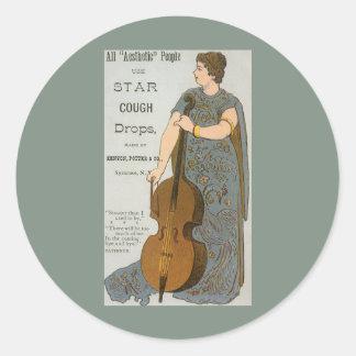 Vintage Star Cough Drops Advertisment Round Sticker