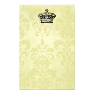 Vintage star crown on grunge Damask Stationery