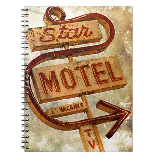 Vintage Star Motel Sign Spiral Note Book