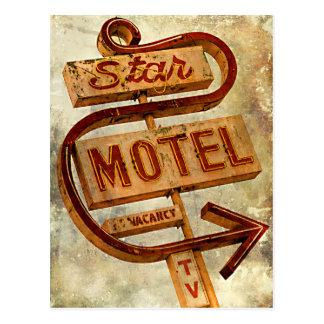 Vintage Star Motel Sign Postcard