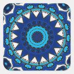 Vintage star motif  Ottoman Turkish tile design Square Sticker