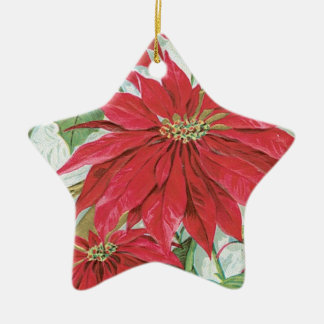 Vintage Star Poinsettia Double-Sided Star Ceramic Christmas Ornament