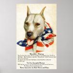 Vintage Star Spangled Banner Pit Bull Dog 2 Poster