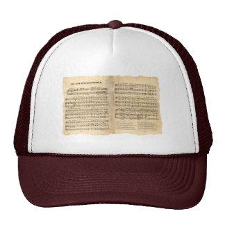 Vintage Star Spangled Banner Song Sheet Lyrics Trucker Hat