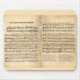 Vintage Star Spangled Banner Song Sheet Lyrics Mouse Pad