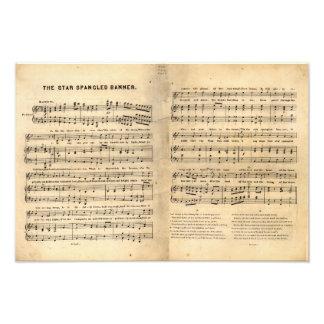 Vintage Star Spangled Banner Song Sheet Lyrics Photo Print
