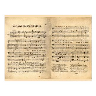 Vintage Star Spangled Banner Song Sheet Lyrics Postcard