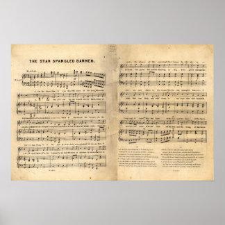 Vintage Star Spangled Banner Song Sheet Lyrics Poster