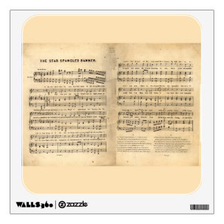 Vintage Star Spangled Banner Song Sheet Lyrics Wall Sticker