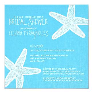 "Vintage Starfish Beach Bridal Shower Invitations 5.25"" Square Invitation Card"